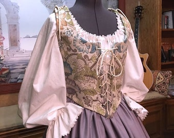 Renaissance Wench or Maiden Reversible Floral Bodice and Gray Lilac Skirt, Dress, Cusom sized for You!