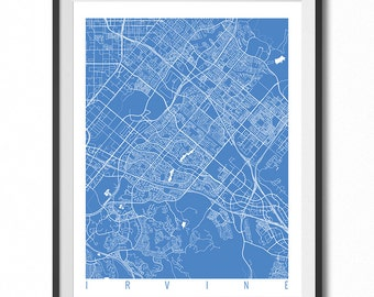 IRVINE Map Art Print / California Poster / Irvine Wall Art Decor / Choose Size and Color
