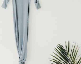Bamboo Knotted Gown - Blue