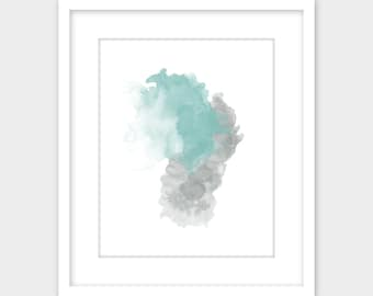 Gray & Blue Abstract Watercolor Print, Gray Minimalist Modern Printable Art, Turquoise Abstract Watercolor Instant Digital Download Grey
