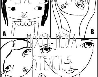 Sweet girlies mixed media stencils, set of four stencils