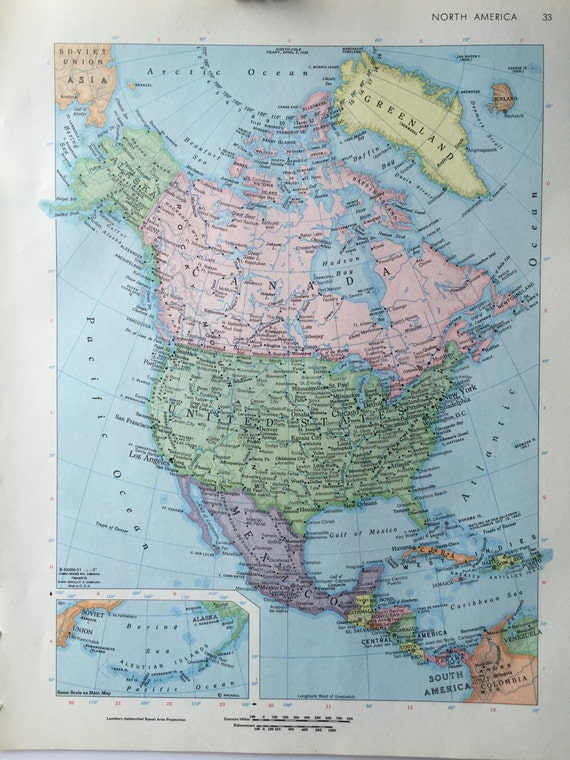 Vintage 1967 rand mcnally world atlas map page north america on one vintage 1967 rand mcnally world atlas map page north america on one side and mexico on the other side from greenbasics on etsy studio gumiabroncs Image collections