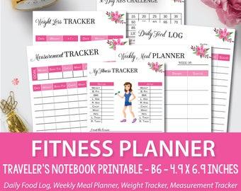 Travelers Notebook Insert, Foxy Fix No.5, Bullet Journal, B6 Fitness Planner, Tn Fitess Planner, B6 inserts EC, Foxy Fix  planner,  B6_1