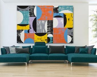 Large Wall Art Original Abstract Pop Art Acrylic Blue Orange Geometric Painting