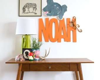 Custom Wood Name Sign Cutout Wall Decor - Personalized Wooden Name Sign - Kids Bedroom Eclectic Style Decor