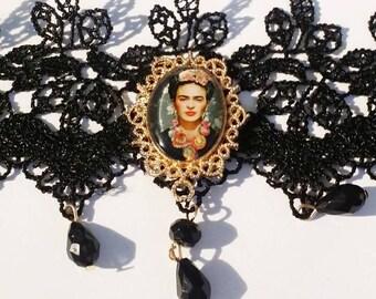 1 FRIDA KAHLO Black Lace Choker Necklace