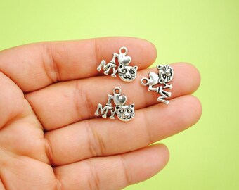 10 Pcs. Tibetan Silver I Heart My Cat Charms