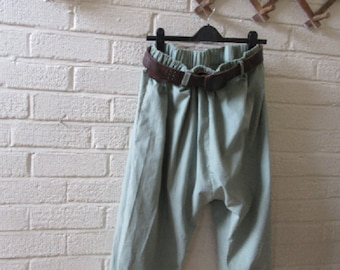 Quirky Lagenlook balloon shaped dropped crotch. pantaloons,harems,bloomers in really soft babycord,cuffs Size UK  10-16 US 8-14,hippy,boho