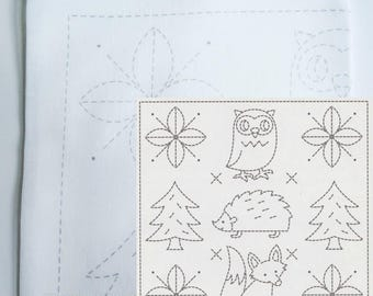 Woodland Sashiko Kit | Olympus Sashiko Embroidery Pattern,  Sashiko Pillow Sampler - Forest Friends (H1031)