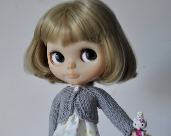 Knitted gray cardigan for Blythe  Pullip doll, sale,jacket,clothes for custon doll