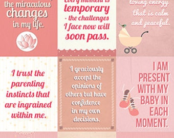 Instant download | Affirmations for mothers | Nursery decoration | PINK