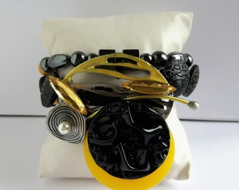 """Women """"Black Yellow"""" bracelet and ring available"""