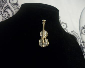 Vintage Rhinestone Guitar Pin/Brooch