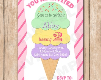 Ice Cream Birthday Invitation | Girl, Cone, - 1.00 each printed