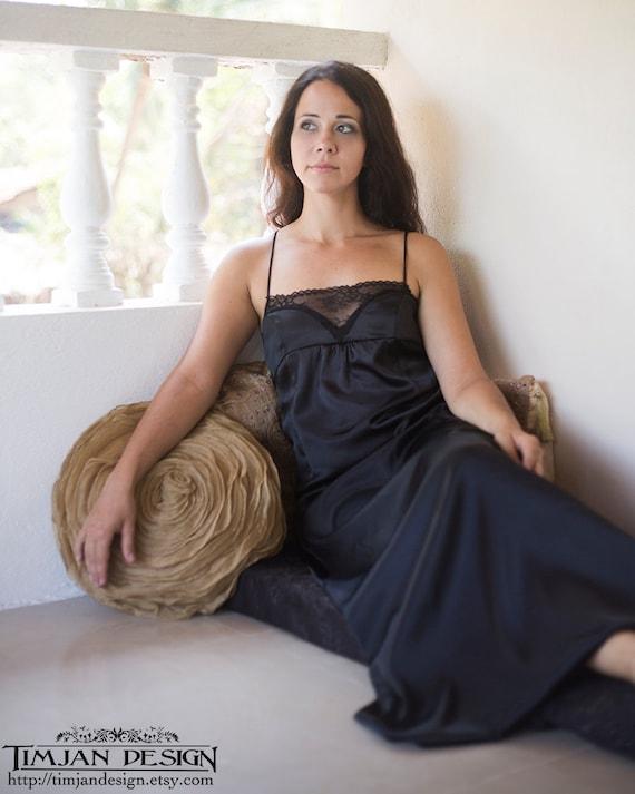 Items Similar To Black Satin Nightgown - Sexy Lingerie Dress Sleepwear Sister Wife -5639