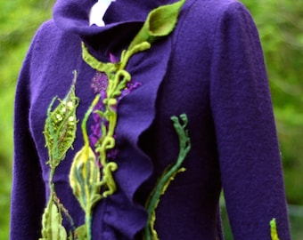 Sweater COAT, purple green Woodland style Fantasy clothing, boho festival art to wear, refashioned  eco couture. Size M. Ready to ship