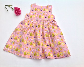 Easter Egg Dress, Baby Girl Easter Dress, Easter Chicks, Girls Easter Dress, Pink and Yellow,  Occasion Dress