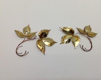 Pair Small Vintage Metal Leaf Wallhangings, Set Midcentury Gold Metal Leaf  Wall Hangings, 2