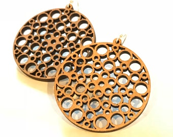 Wood Effervescence Earrings - Eco-friendly Fashion Besties, Sisters, Mom, LDR, 5th Anniversary