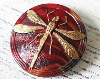 41mm Czech Buttons - Large Dragonfly Button - Size 18 Button - Gold Dragonfly Button - Craft Supplies - Red And Gold - 1 Button