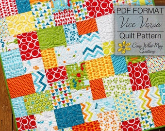 Baby Quilt Pattern, Layer Cake Quilt Pattern, Vice Versa Baby Quilt Pattern, Lap Quilt Pattern, Beginner Quilt Pattern, Easy Quilt Pattern