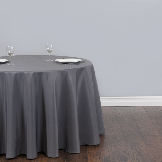 120 Inch Round Charcoal Gray Tablecloth Polyester Wedding