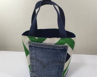 Project Bag, Bucket style, Green Geometric Pattern, from Upcycled jeans & Upholstery fabric samples