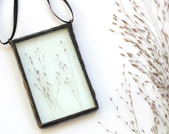 Pressed flower terrarium suncatcher, stained glass suncatcher, pressed flower art, Witchgrass flowers, glass art, nature decor