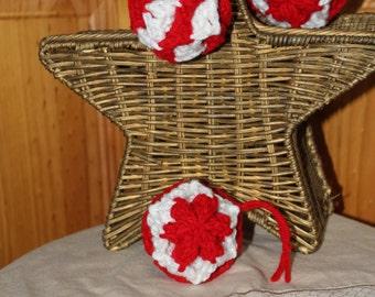 Set of 3 Fiber Art Crochet Peppermint Candy Bauble Ornaments
