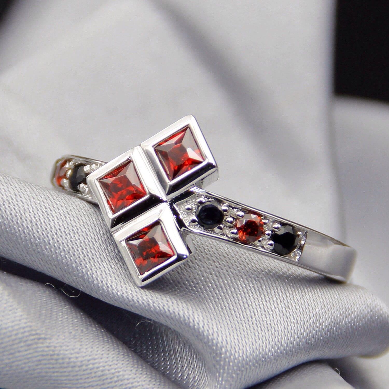 14k gold natural garnet and black sapphire engagement wedding