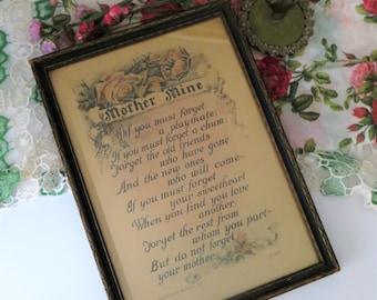 "Vintage Buzza Motto ""Mother Mine"" Poem Rose Garland Print, Reinthal & Newman, N.Y. Wood Framed Wall Art Print, 1920's"