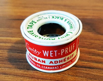 Rare Miniature 'Curity Wet-Pruf' 1 Yard Adhesive Tape, Bauer & Black, Steel Roll
