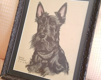 Gladys Emerson Cook 1940s print Scottish Terrier framed ready to hang Scottie dog art Shabby Chic collectable black vintage frame