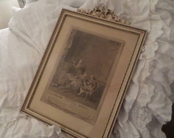 Antique French Barbola Ornate Gesso Bow Painted Frame Romantic Paris Pastels Engraving