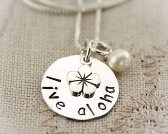 Live Aloha Necklace Aloha Hawaiian Plumeria Jewelry Personalized Hand Stamped Sterling Silver Necklace