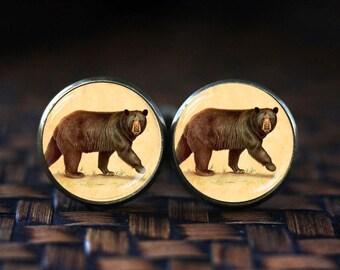 Bear cufflinks, Bear art cufflinks, Bear Jewelry, Antique style Animal cufflinks, art print bear cufflinks