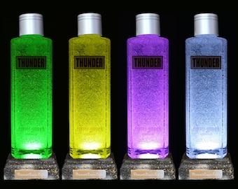 Thunder Vodka Multicolour LED Bottle Lamp, Bottle Light, LED Bottle, Mancave, Remote LED, Bar Gifts, Gifts For Men - DiamondLiquorLights