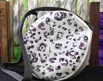Handmade Round Crossbody Purse in Purple, Gray and White Leopard Print