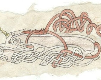 Celtic Unicorn - Original Watercolor on Handmade Paper