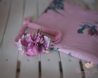 RTS Mauve Floral wrap and tieback set, Newborn Floral Photo prop set, Newborn Photo Prop, Floral wrap, Newborn tieback.