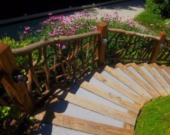 Rustic Outdoor Railing Rails Garden Porch Decor Log Cabin Furniture by Jason Wade