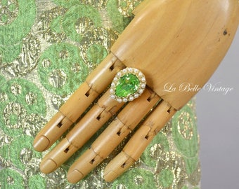 50s Big Statement Ring Vintage Peridot Green Rhinestone & Pearls ~ Adjustable Cocktail Jewelry