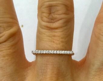 Diamond Straight Bar Ring - 18K White Gold