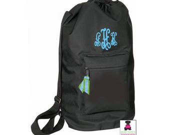 Monogrammed Large Drawstring Duffle / Laundry Bag - Black - FREE SHIP