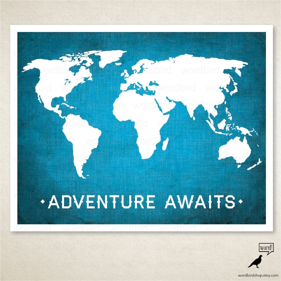 Items similar to world map adventure awaits boys room wall art items similar to world map adventure awaits boys room wall art nursery room decor adventure awaits world map poster with linen texture on etsy gumiabroncs Gallery