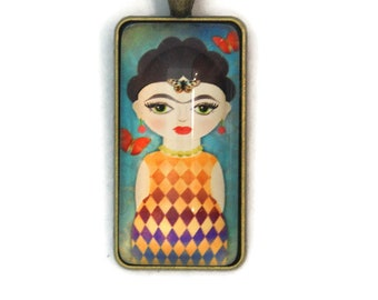 "Pendant ""Frida in the soul"" - illustrated rectangular cabochon (5)"