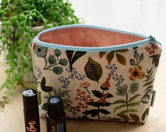 Rifle paper co essential oil bag. Oil pouch. Oil storage. Essential oil gift. Floral oil bag. Zipper pouch. Rifle paper bag