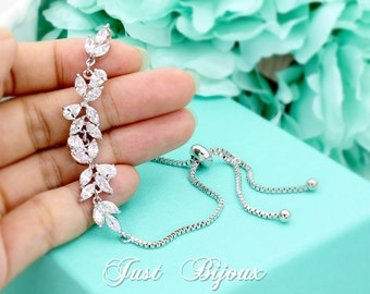 Wedding Bracelet Platinum plated Zirconia Bracelet Bridesmaid Bracelet Zirconia Bracelet Wedding Jewelry Bridal Bracelet Bridal Jewelry Leaf