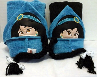 Jasmine Princess Hooded Towel with 3-D Removable Braid!