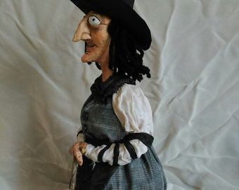Witch paper mache with cane